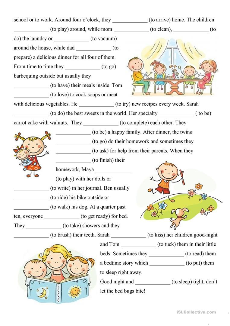 - 4pages* Present Simple, Reading-comprehension Text+exercises - Family Daily  Routine Reading Comprehension, Reading Comprehension Texts, Reading  Comprehension Lessons