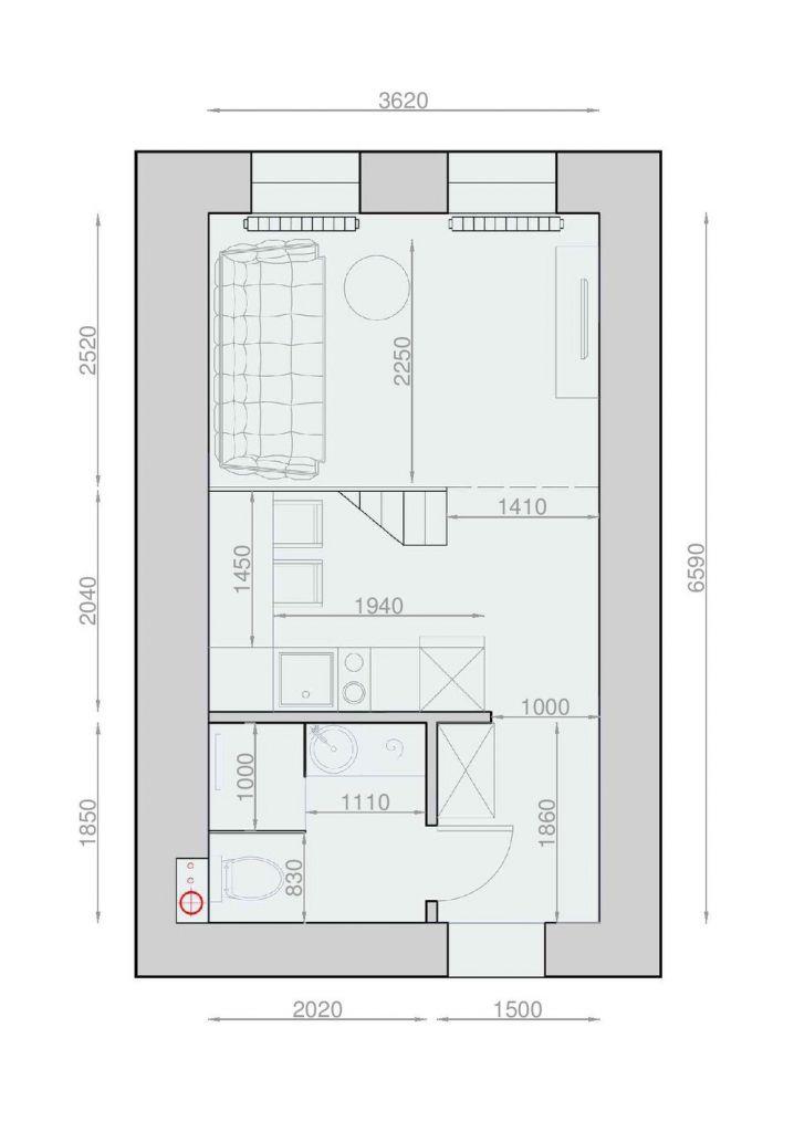 Plan Amenagement Studio 25M2