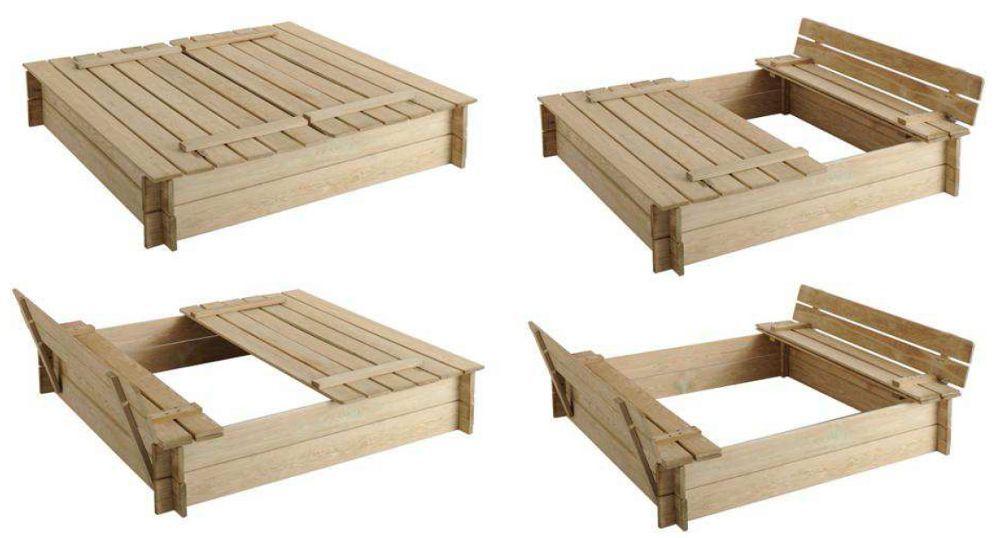 Bac à sable avec Bancs intégrés Veg garden and Patios - Maisonnette En Bois Avec Bac A Sable