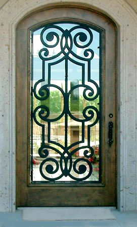 Colletti Design Iron Door Grill On Wood Entry Door By Colletti Design Paradise Valley Az