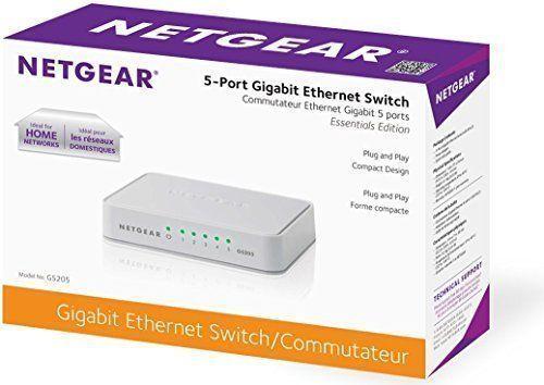 Gigabit Ethernet Unmanaged Network Switch GS205 NETGEAR 5-Port 10//100//1000Mbps