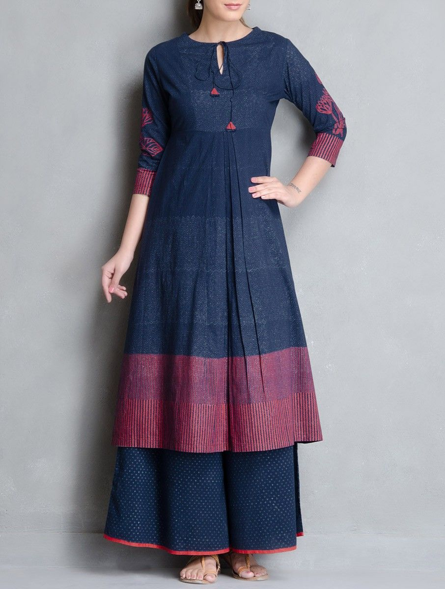 bd5c6dcd020 Buy Indigo Red Block Printed Pleated & Tie Up Detailed Cotton Kurta Apparel Tunics  Kurtas Neel Sutra Hand Palazzos Dupattas More Online at Jaypore.com