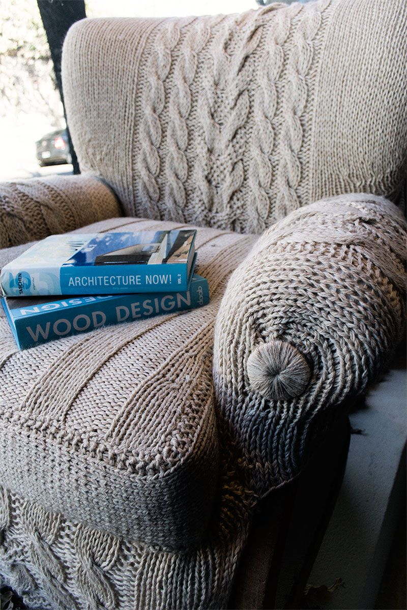 Kreative wohnideen knitted chair cover i will need to make a crochet version for my