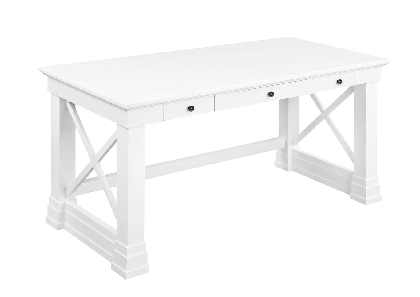 With A Clean White Finish This Writing Desk By Is Sure To Stand Out In Any Room The Desk Includes Three Dr In 2020 Antique White Writing Desk White Writing Desk Desk
