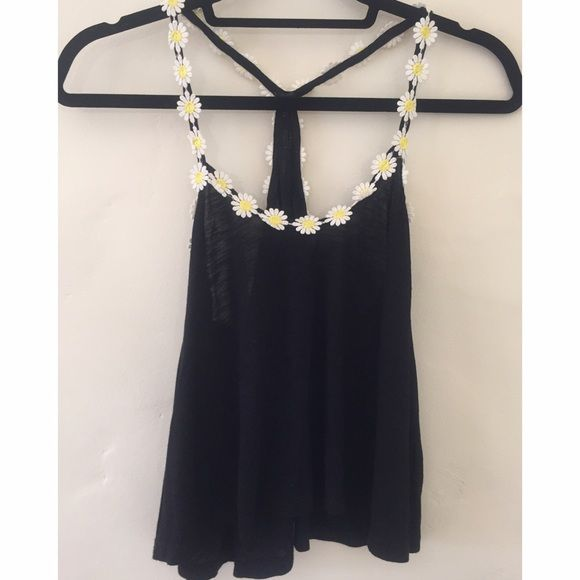 Daisy Chain Tank Black cropped tank with daisy appliqué trim from LF, NEVER WORN emma & sam Tops Tank Tops