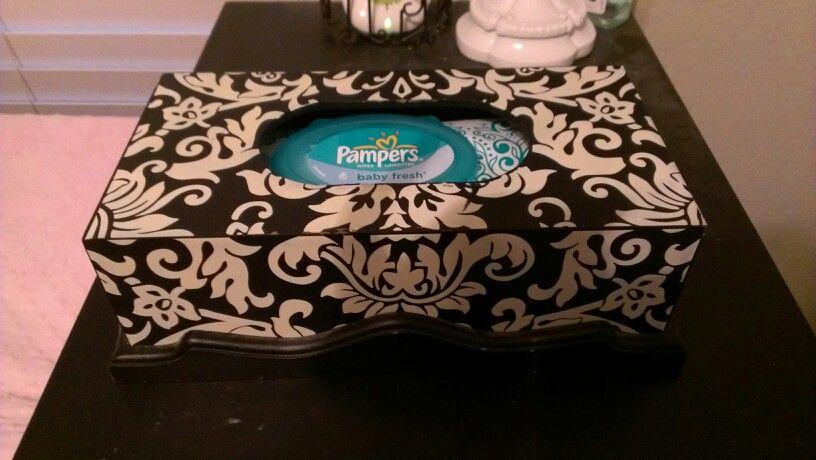 Decorative Baby Wipe Dispenser Wooden Tissue Box Placed