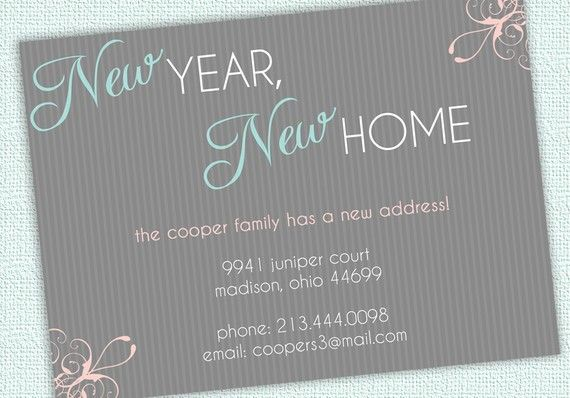 moving announcement change of address card new year new home printable digital file