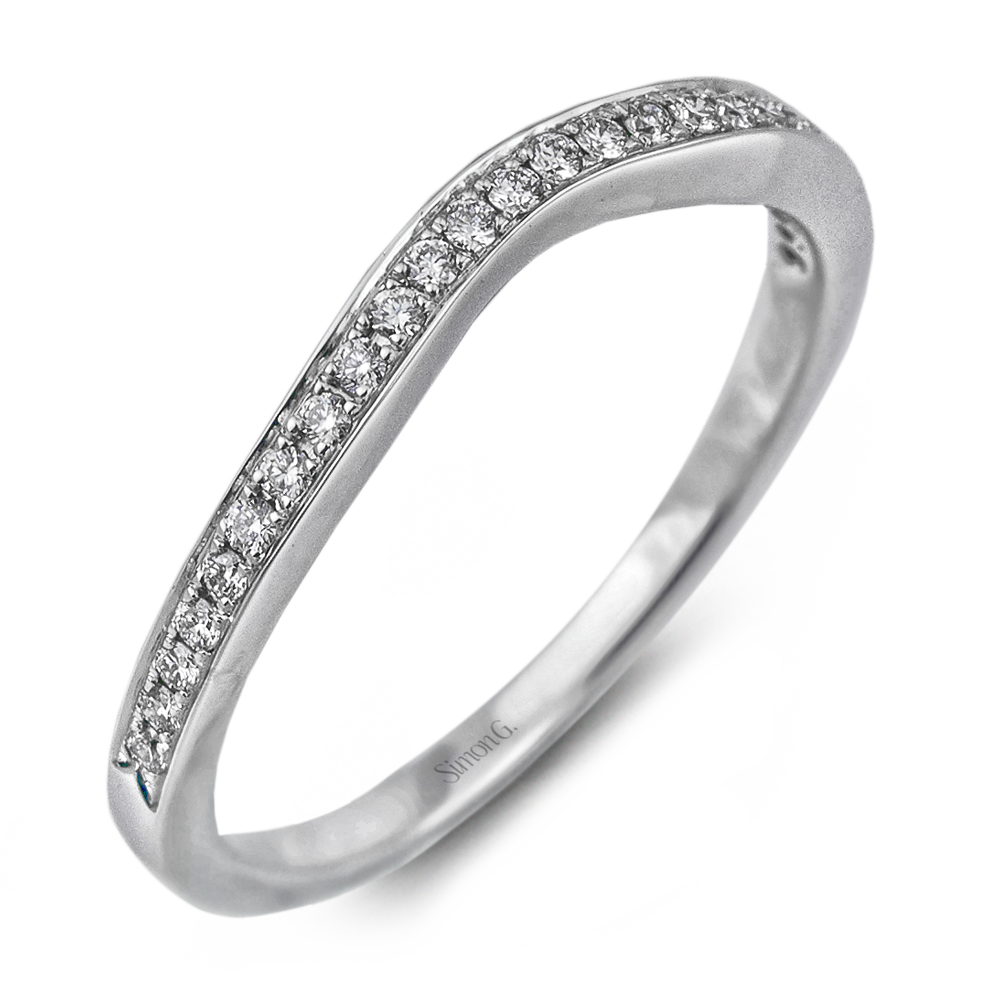 18K White Gold Engagement Ring Set with Pave Bands