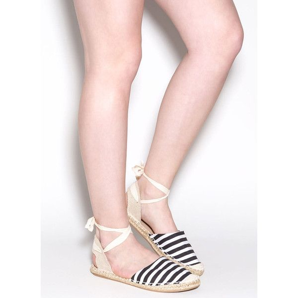 Stripe Out Lace-Up Espadrille Sandals BLACK (€10) ❤ liked on Polyvore featuring shoes, sandals, black, flat sandals, slingback sandals, black platform sandals, braided sandals and platform espadrilles