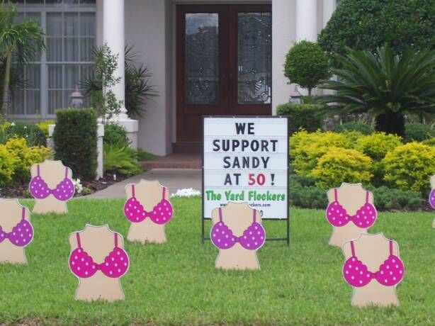 We Support Sandy At 50 Birthday Lawn Signs