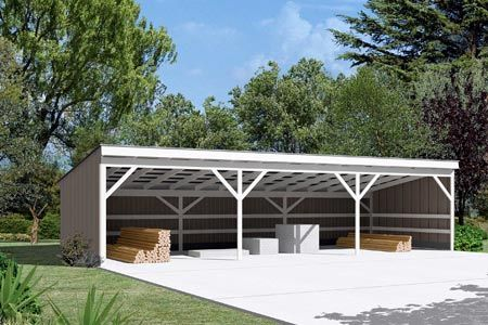Pole building open shed project plan 85946 for How to build a pole barn plans for free