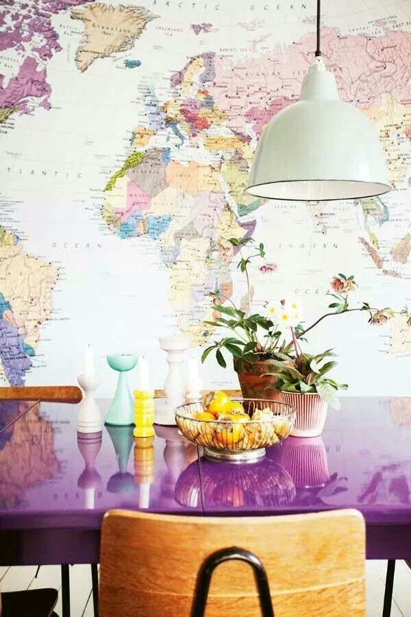Pink diner table dco interiors pinterest diner table and mural world map via homelife ph kicki wieslander virginia jen look at that purple table gumiabroncs Choice Image