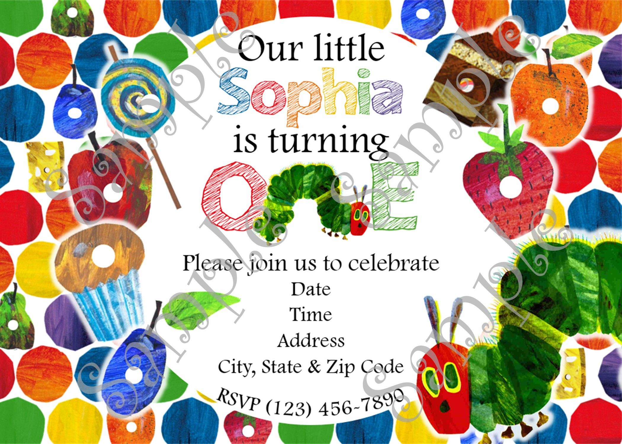 Very Hungry Caterpillar Party Invitation, Very Hungry Caterpillar ...