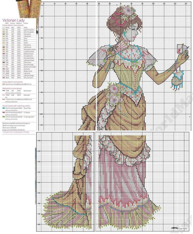 0 point de croix femme victorienne - cross stitch victorian lady ...