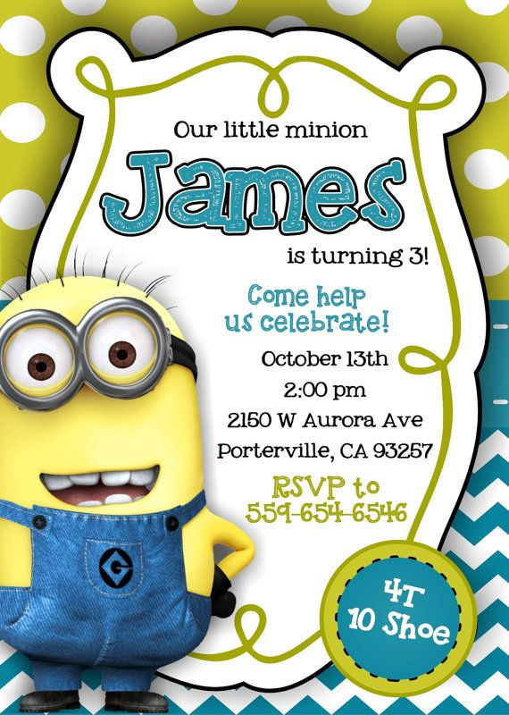 Despicable Me Minion Invitations By Notyouraverageblonde On
