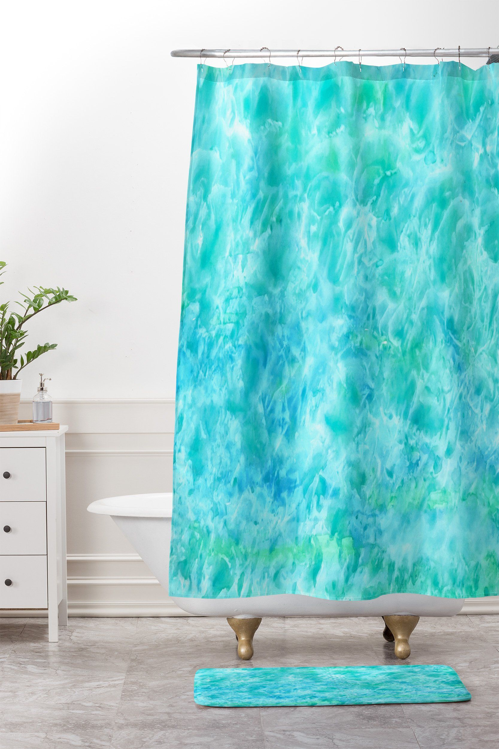 Rosie Brown Sparkling Sea Shower Curtain And Mat Deny Designs