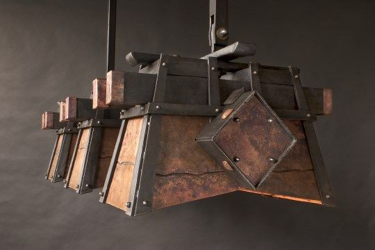 Superbe Copper And Steel Pool Table Light Echoing Clientu0027s Roof Detail