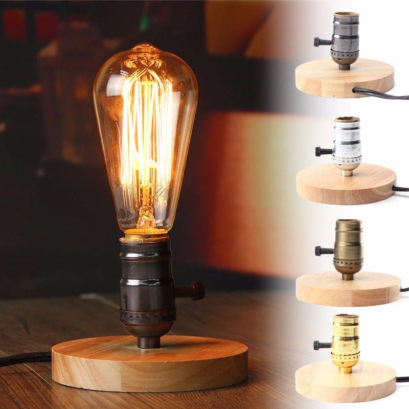 Mejor Precio E27 Lampara De Mesa De Estilo Vintage Retro Industrial Bombilla Zocalo De Madera De Bases De Lampara Lampara De Edison Lampara Colgante De Madera