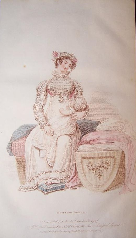 Long white gown for the baby. 1814 Belle Assemblee