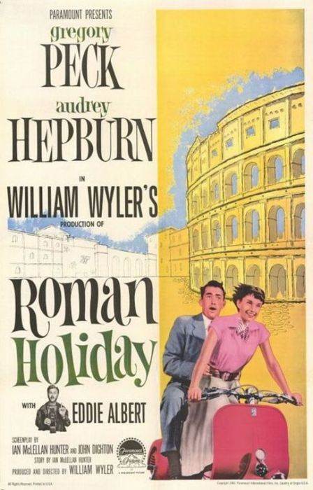 Audrey Hepburn, Roman Holiday, Gregory Peck, vintage, poster, movies, films