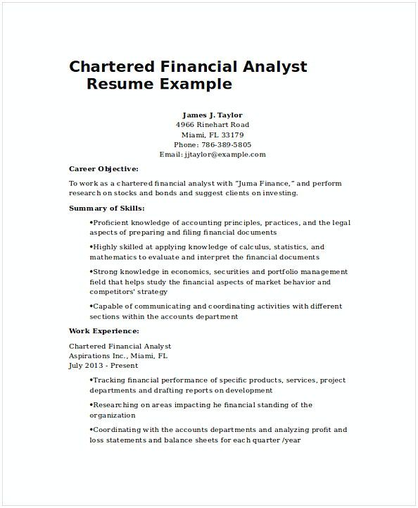 Finance Resume Objective Beauteous Chartered Financial Analyst Resume Example 1  Financial Analyst 2018