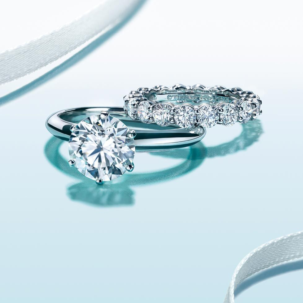 a5c5a5a05 simply classic - round solitaire with platinum band, and diamond eternity  band.