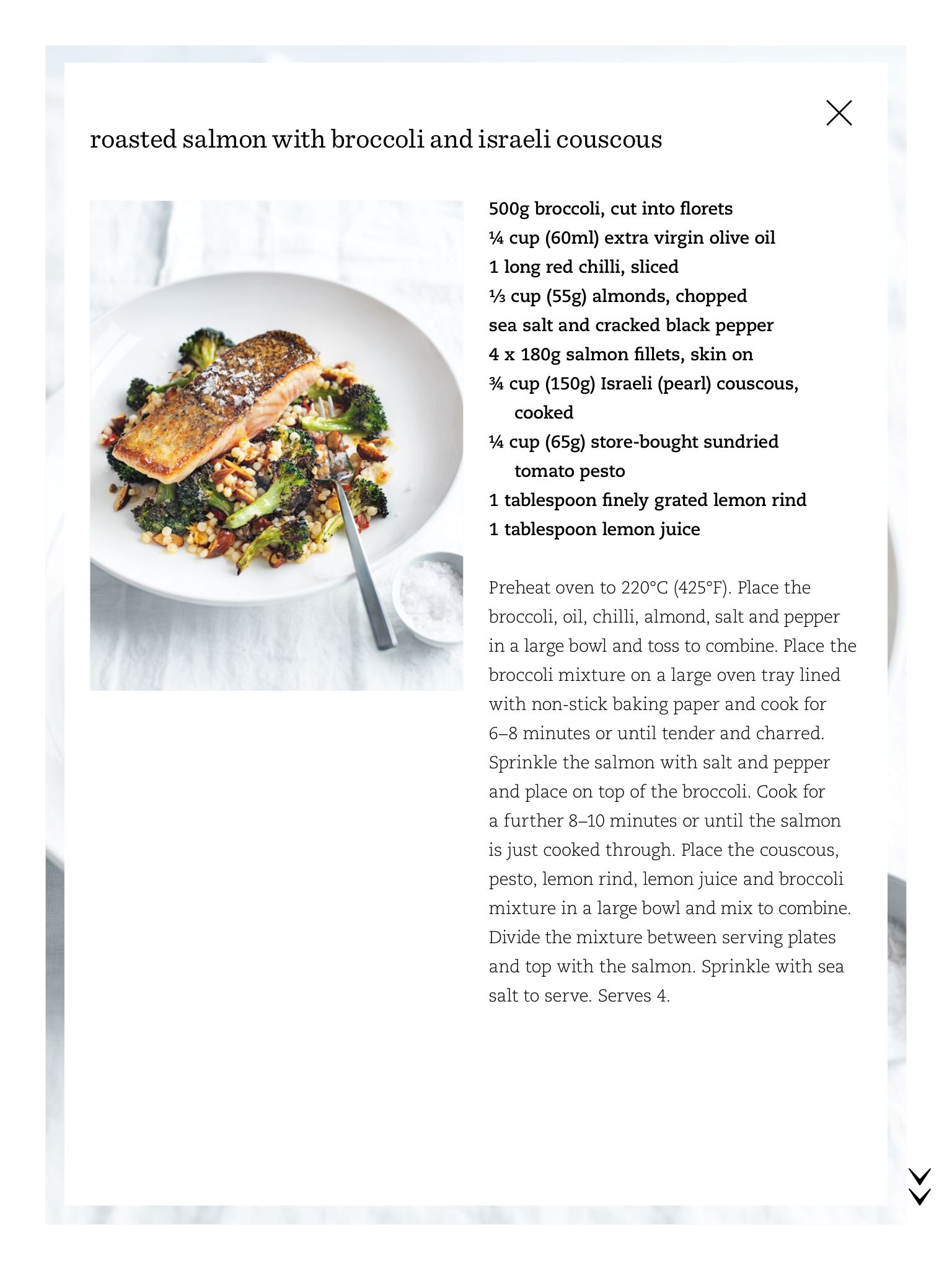 Roasted salmon with broccoli and israeli couscous mains seafood roasted salmon with broccoli and israeli couscous ccuart Image collections