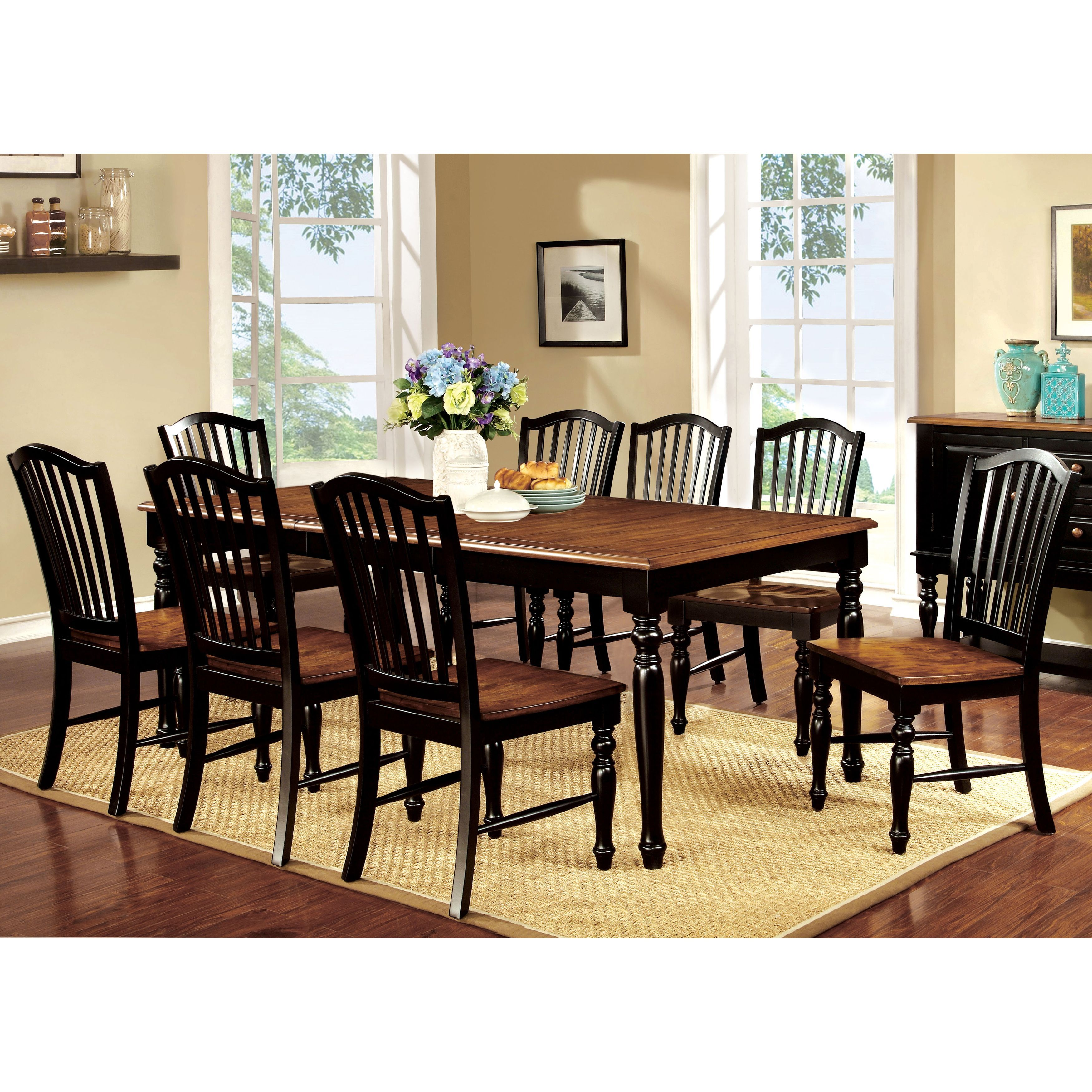Country Kitchen Dining Set: Furniture Of America Levole 2-Tone 9-Piece Country Style