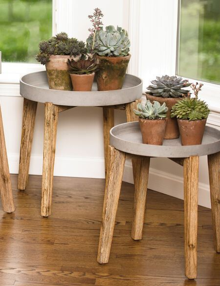 Terra Round Wooden Plant Stand | Gardeners.com