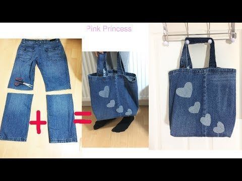 10 Min. DIY-Einkaufstasche mit unbenutzten Jeans – YouTube – 2019 - Bag Diy
