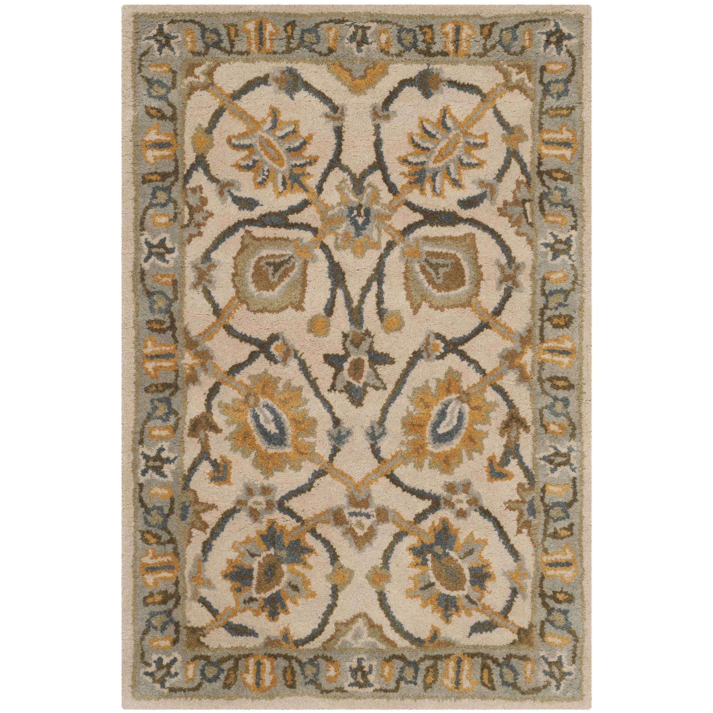 Safavieh Handmade Classic Ivory/ Light Blue Wool Rug