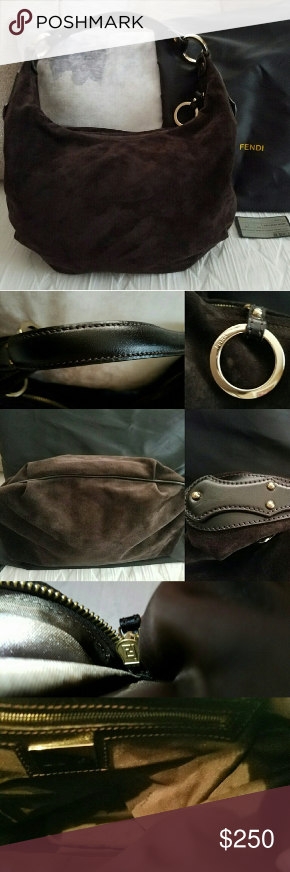 FENDI Authentic Bag. Authentic Fendi Brown Suede Bag. Has black leather  strap and black 54a4dfff2cd75