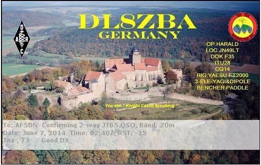 DL8ZBA  Germany flag Germany  Harald Renner Kellereistr. 4 64739 Höchst Germany, 14.076, JT65, 2014-06-07 02:40:00 UTC