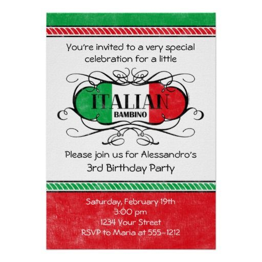 italian bambino d birthday party invitation party ideas