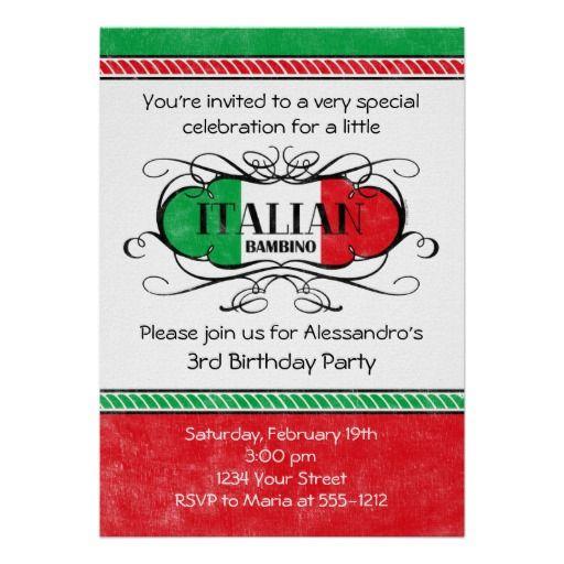 Italian Bambino D Birthday Party Invitation Party Invitations