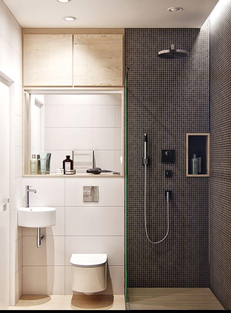 Дизайн туалетов маленьких размеров: 80 функциональных и компактных вариантов интерьера http://happymodern.ru/dizajn-tualetov-malenkix-razmerov-foto/ Зонирование совмещенного санузла с помощью контрастных оттенков и разной плитки
