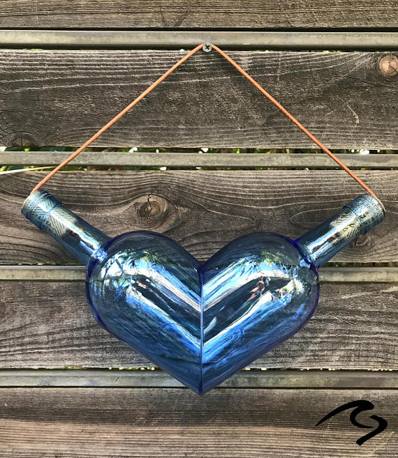 Flasche Wein Herz Glas Kunst Artikel # GCWBHEARTGA #heartdetail