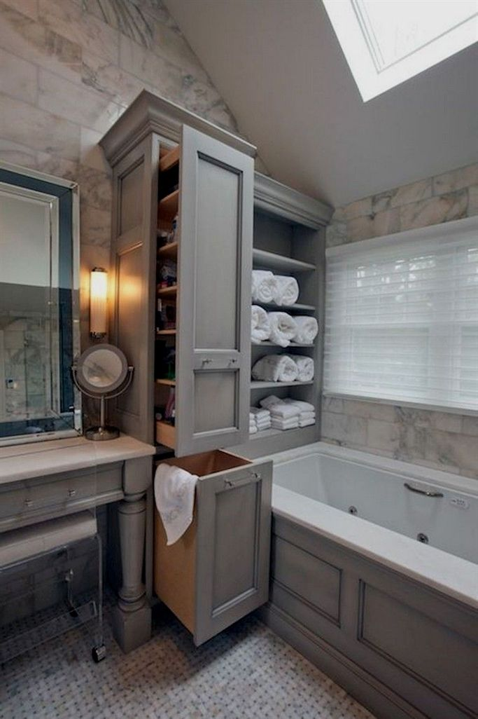 46 charming small bathroom storage remodel ideas with