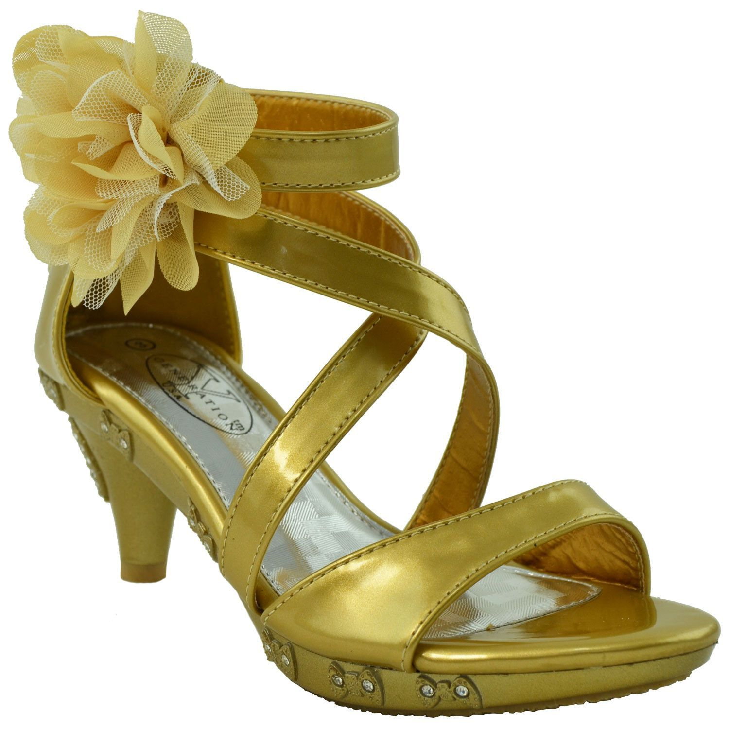 0c6bc4e459582 Strappy Patent Leather. Bows with Rhinestones. Flower on the side. Zipper.  Material  Man Made Material. Available in Yellow