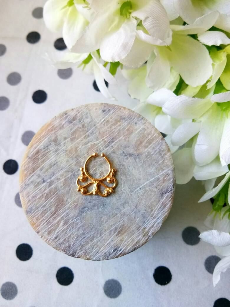 Bump from nose piercing  Goldfilled Septum Ring Fake Septum Ring Handmade Septum Ring