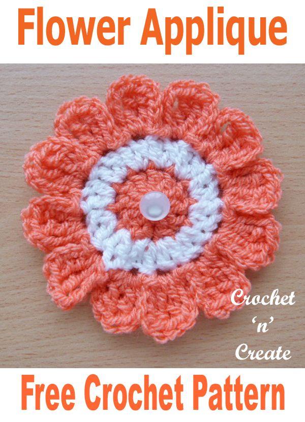 Crochet Flower Applique Free Crochet Pattern | Moogly Community ...