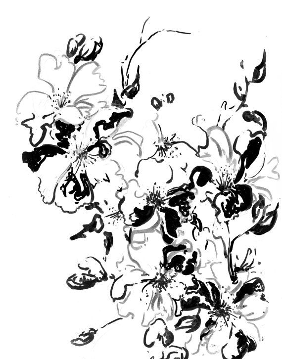 Abstract Black And White Flowers Ink Drawing Art Print