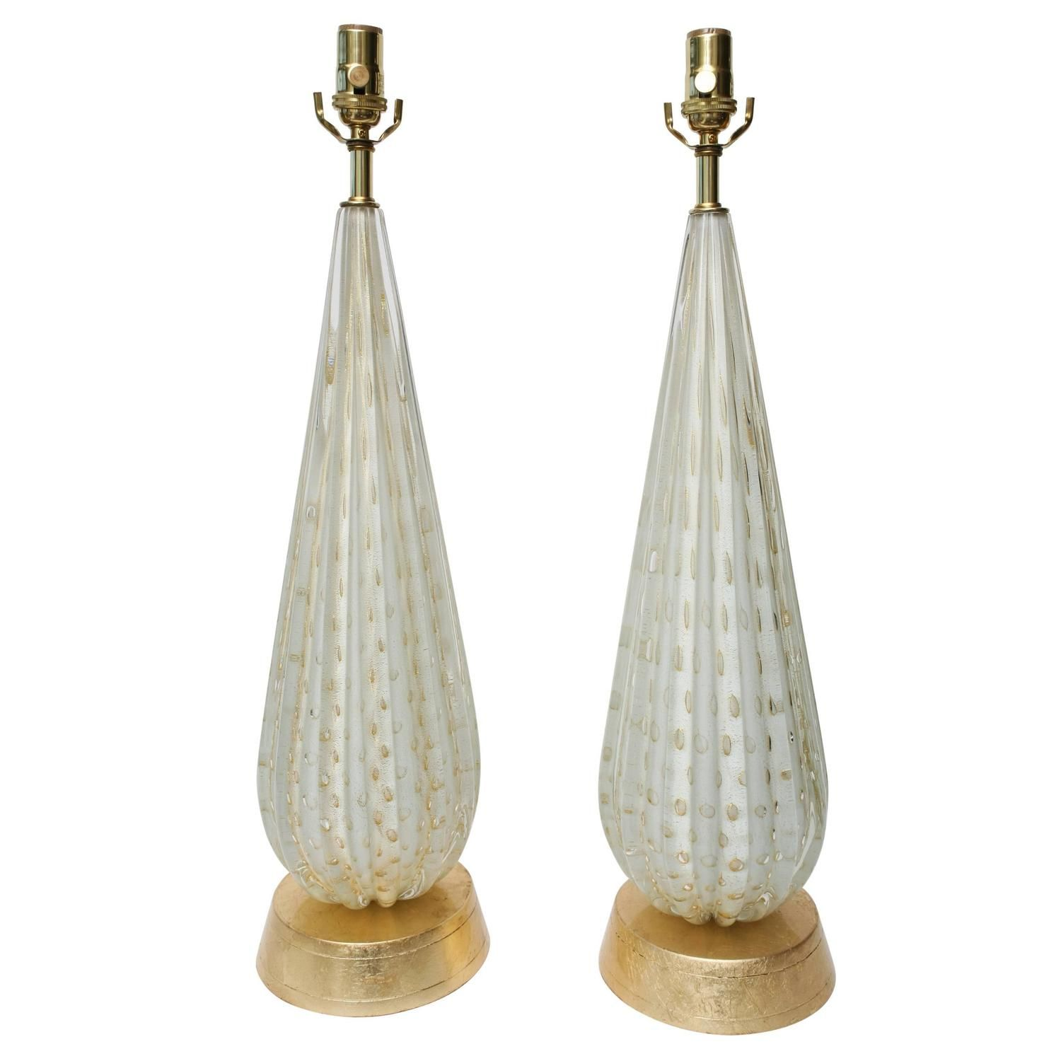 Pair of Italian Barovier e Toso Murano Glass Lamps With Gold ...