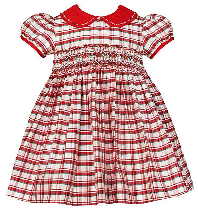 Anavini Baby / Toddler Girls Christmas Plaid Smocked Miranda Silk ...