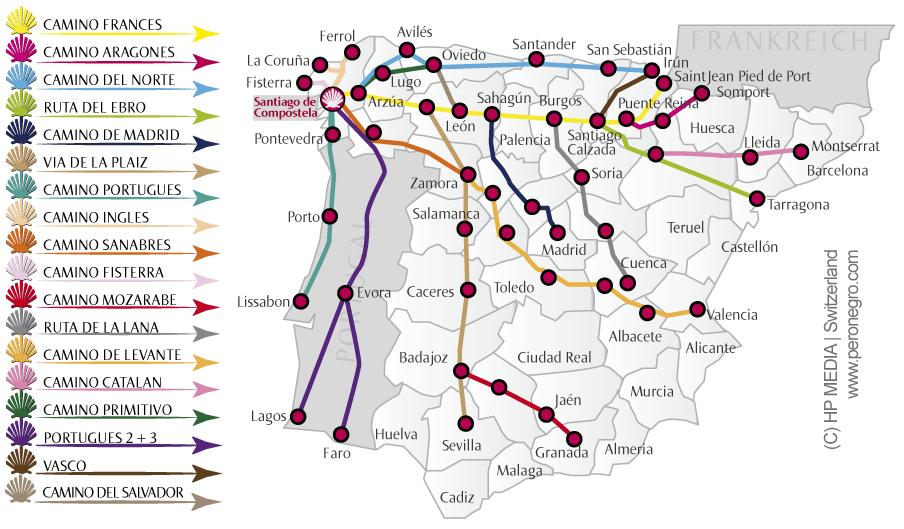 Jakobsweg Frankreich Spanien Karte.Jakobsweg Karte Spanien Und Portugal Die Caminos In Spanien