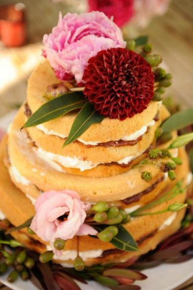 Trend Wedding Ideas: Naked cakes are a new take on a classic wedding cake! #ontrendweddings via The Bride's Cafe Photographed by Something Pretty Fine Art Photography