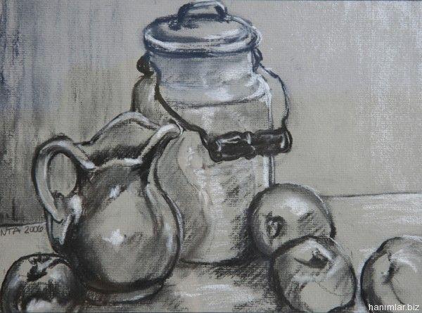 Karakalem çalışmaları Meyve Tabağı Karakalem Painting Home