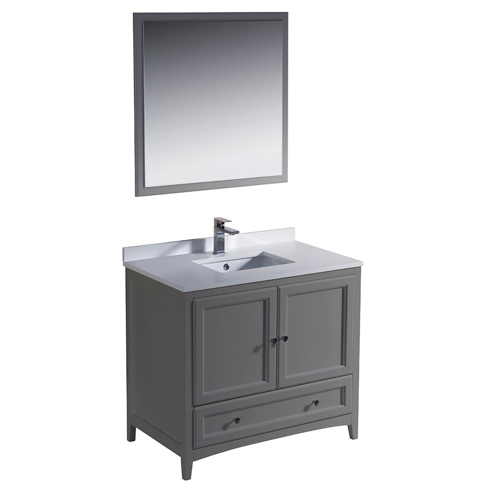 Fresca Oxford 36 In Traditional Bathroom Vanity In Gray With