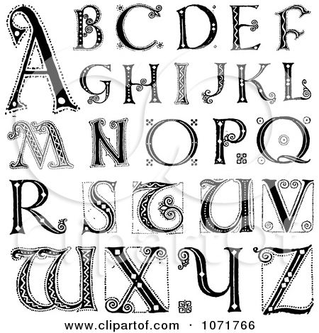 Print Decorative Alphabet Letters Clipart Black And White
