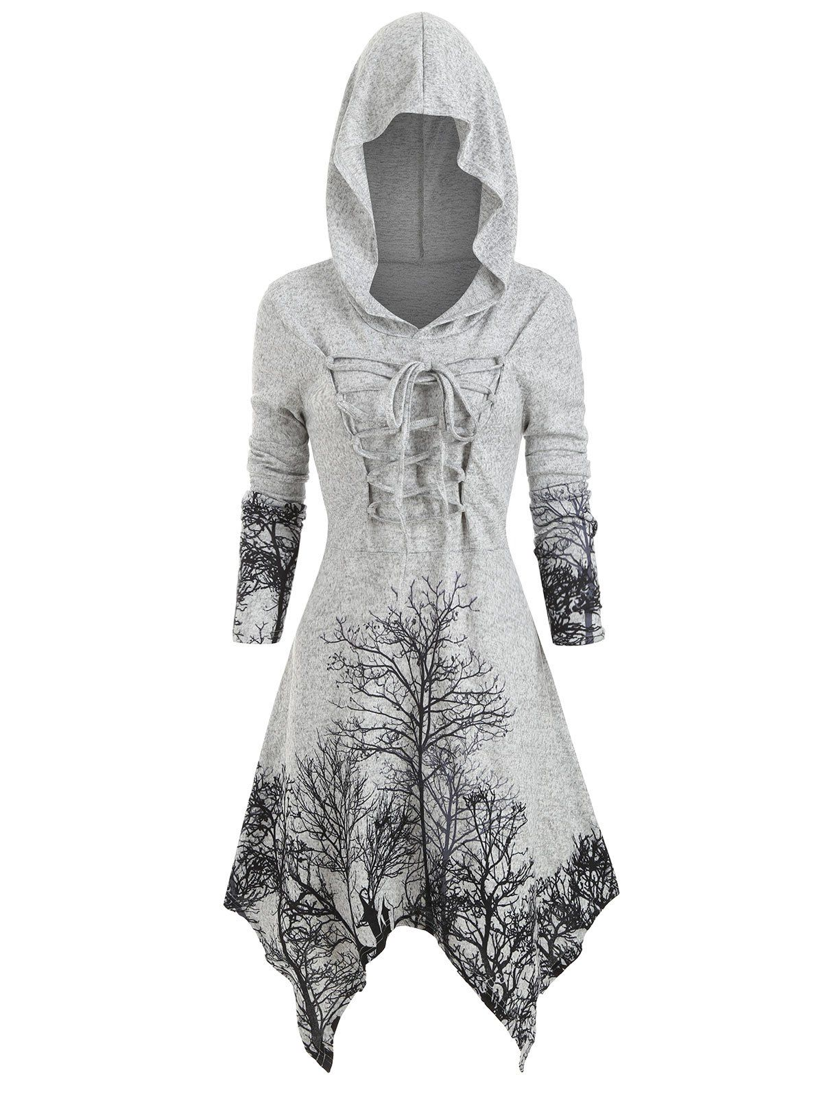 Photo of Plus Size Halloween Lace Up Tree Print Knitted Dress